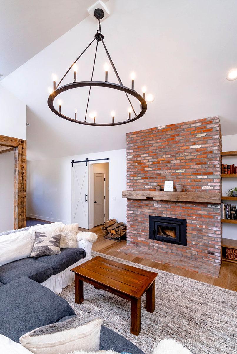 living room with fireplace custom home